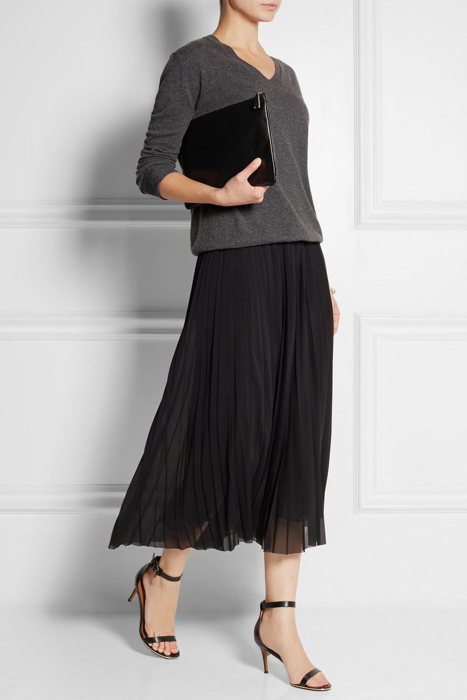 Donna karan Pleated Stretch-Silk Chiffon Midi Skirt in Black | Lyst