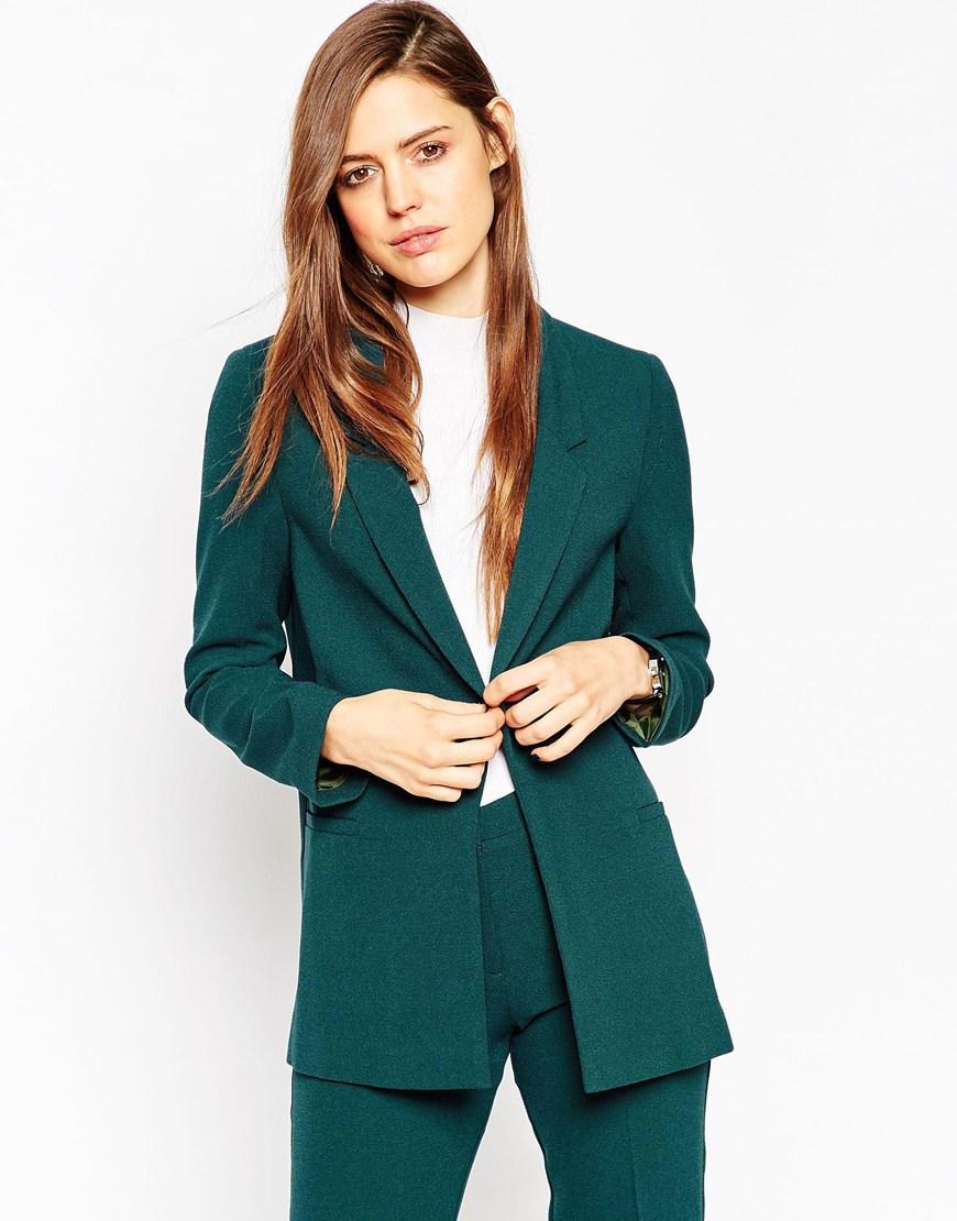 Asos Slim Tailored Jacket In Crepe in Green | Lyst