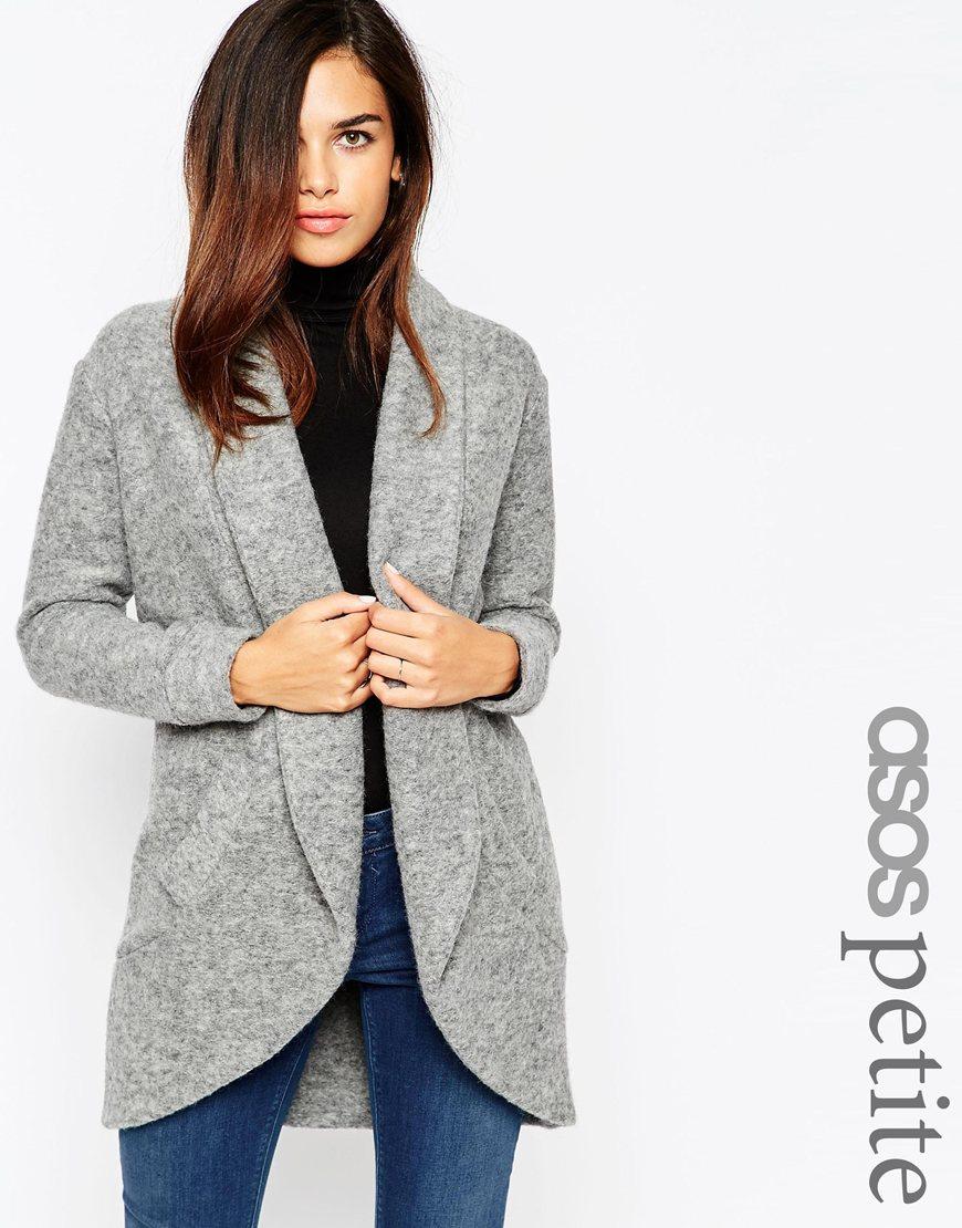 Lyst - ASOS Petite Premium Wool Mix Coatigan in Gray