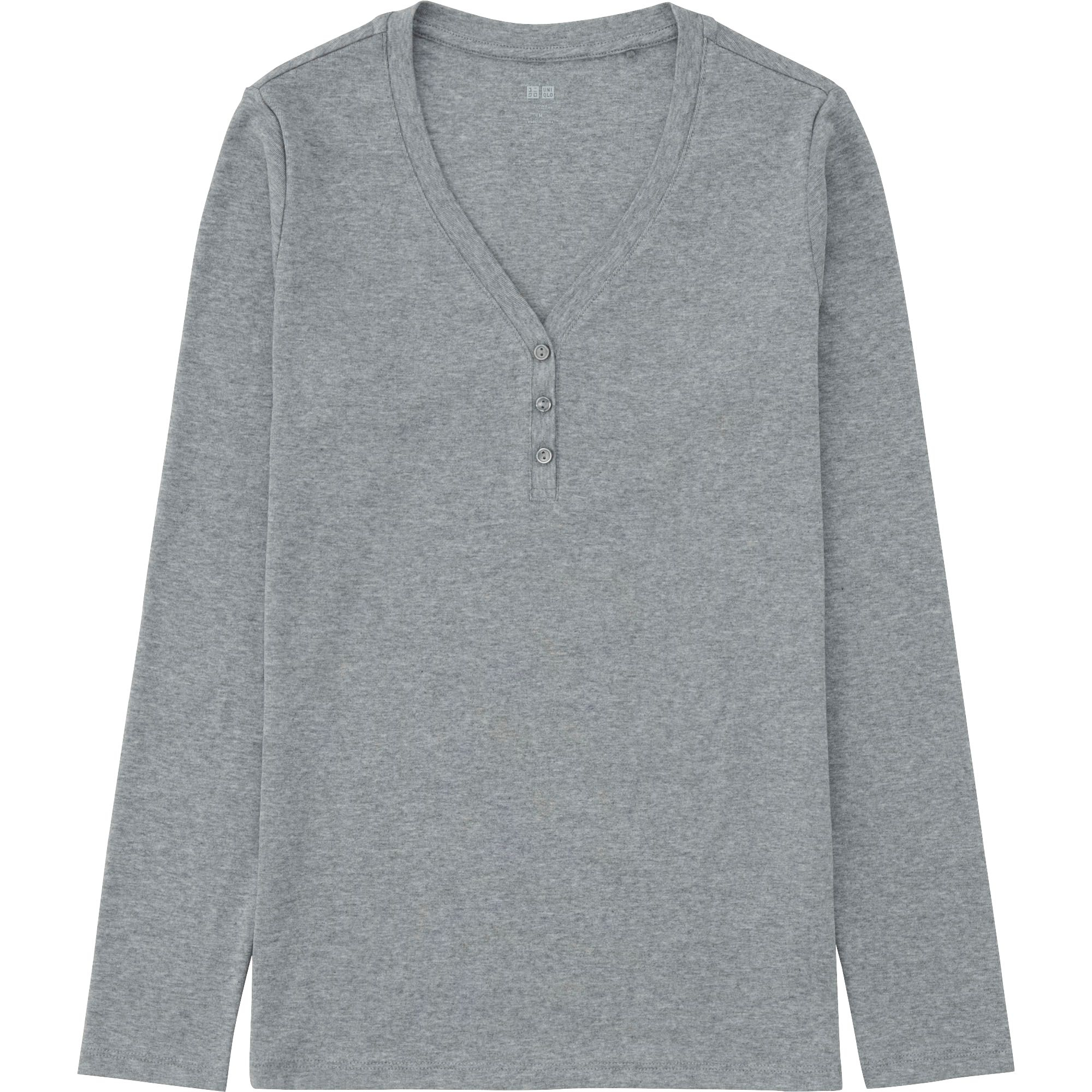 Uniqlo women supima cotton modal henley neck long sleeve t for Women s cotton henley shirts