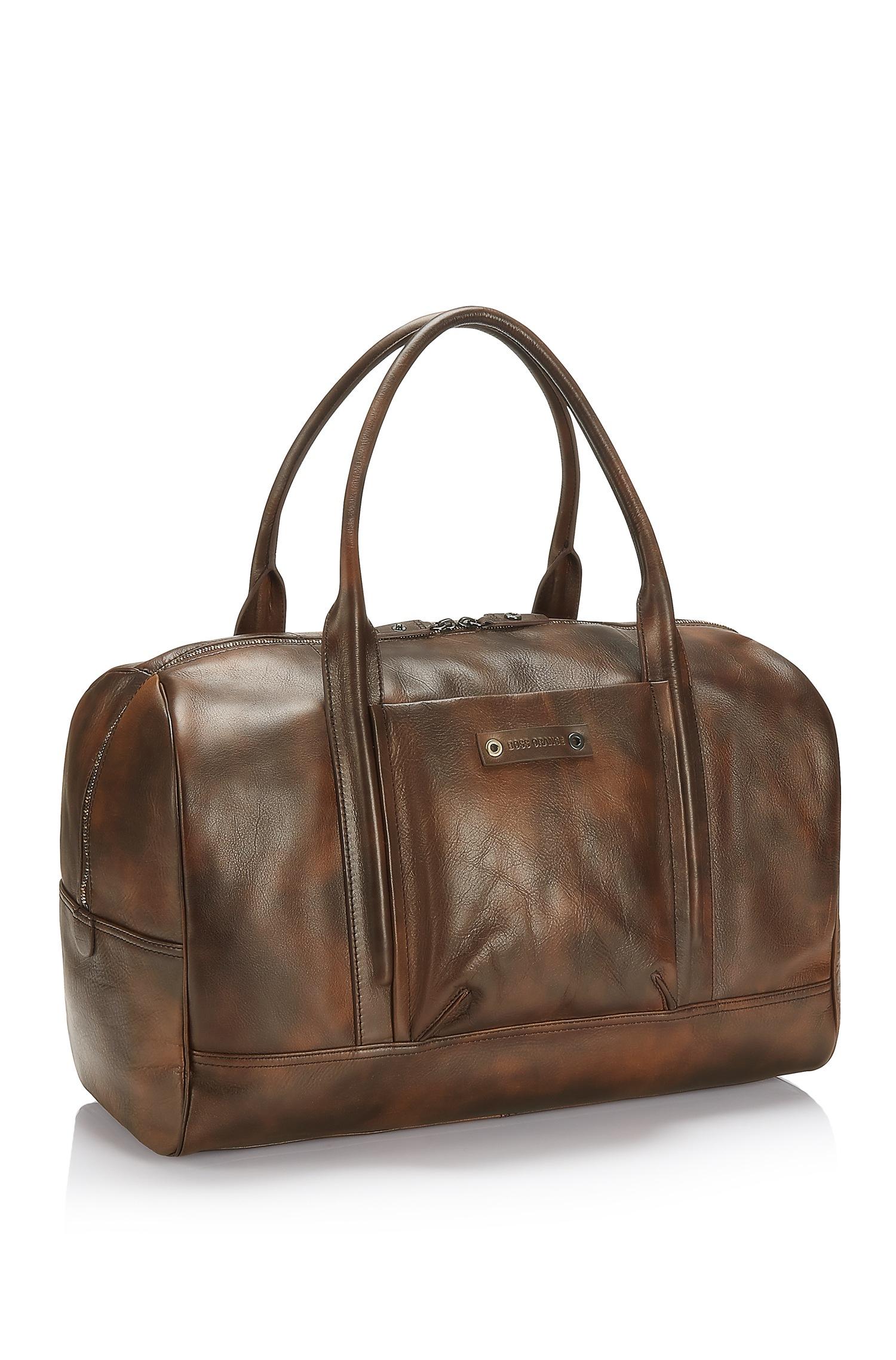 Lyst Boss Orange Weekender Leather Travel Bag In Brown