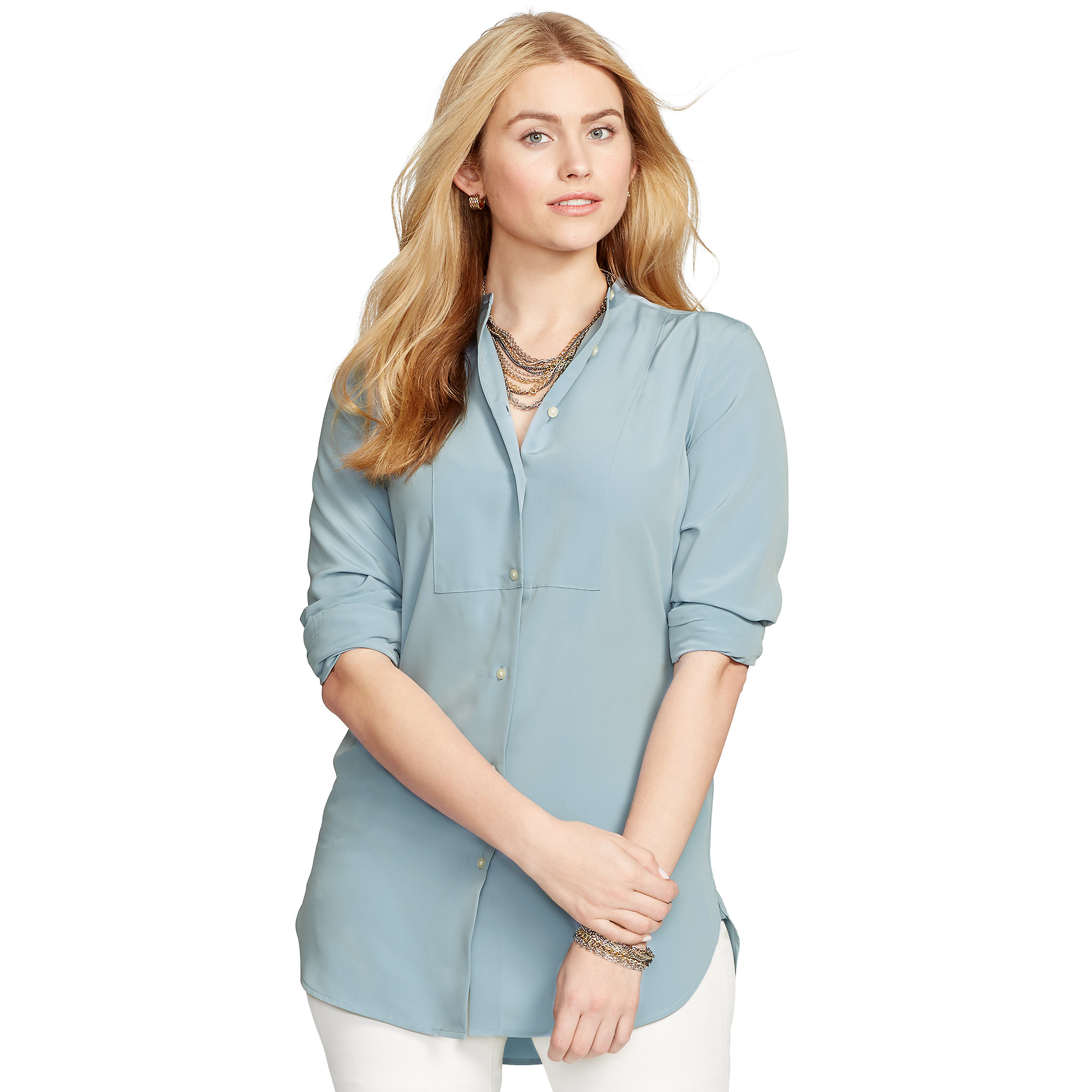 b218e8a020317c Lyst - Pink Pony Bib-front Crepe Shirt in Blue