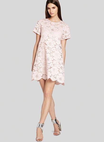 Bcbgmaxazria bcbg max azria dress diane oversize lace in pink dusty