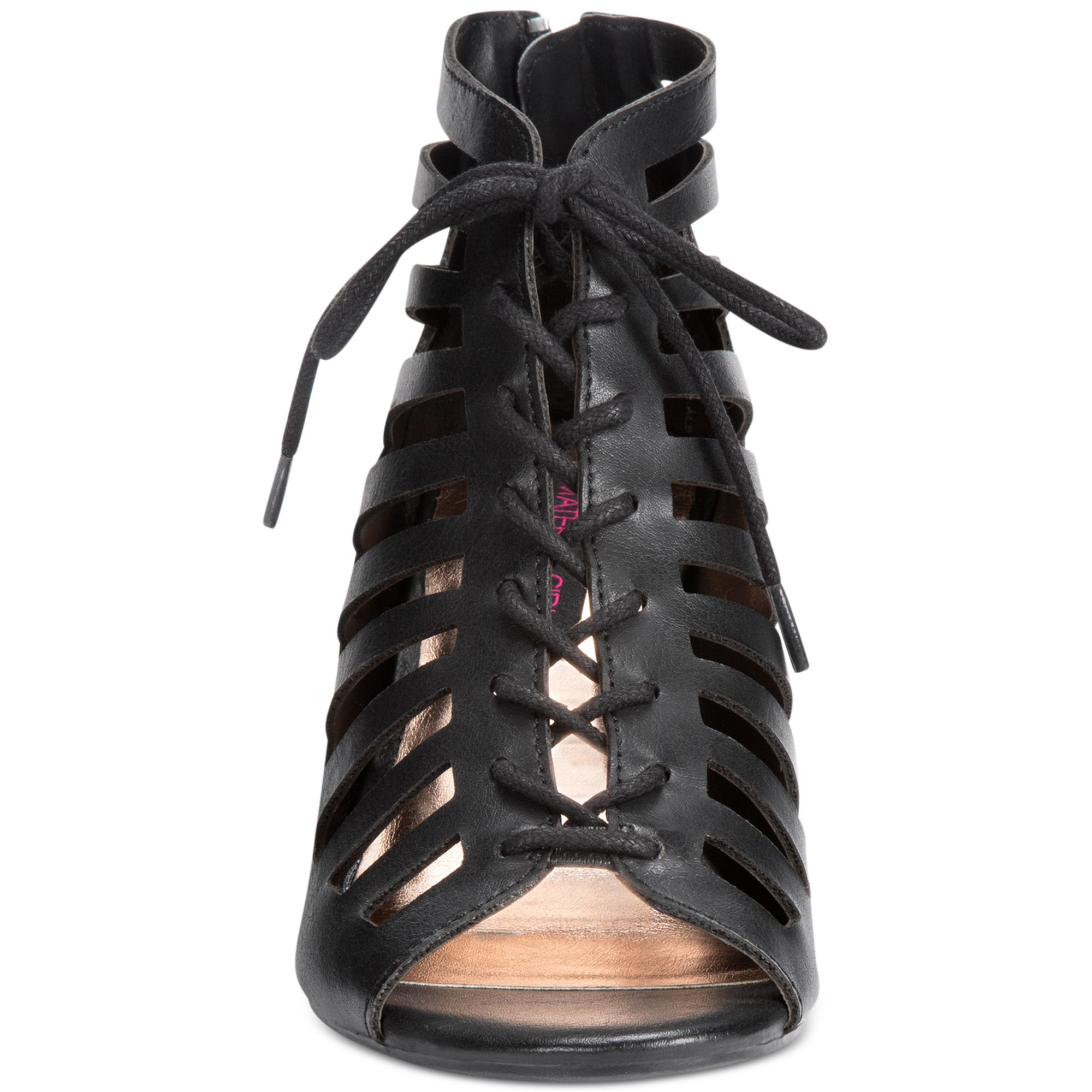 Lyst Material Girl Harley Lace Up Wedge Sandals In Black