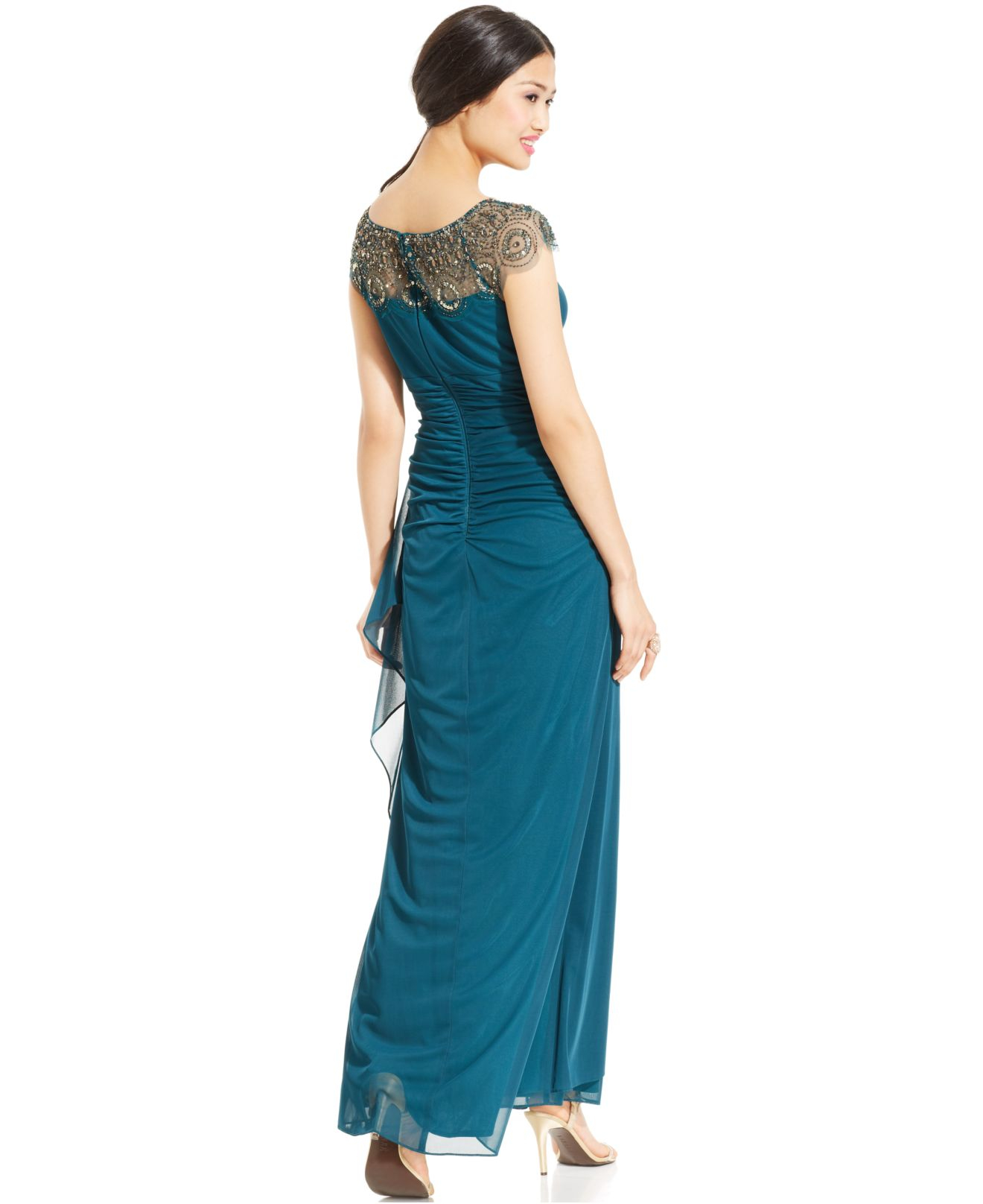 Lyst - Xscape Petite Cap-sleeve Illusion Beaded Gown in Green