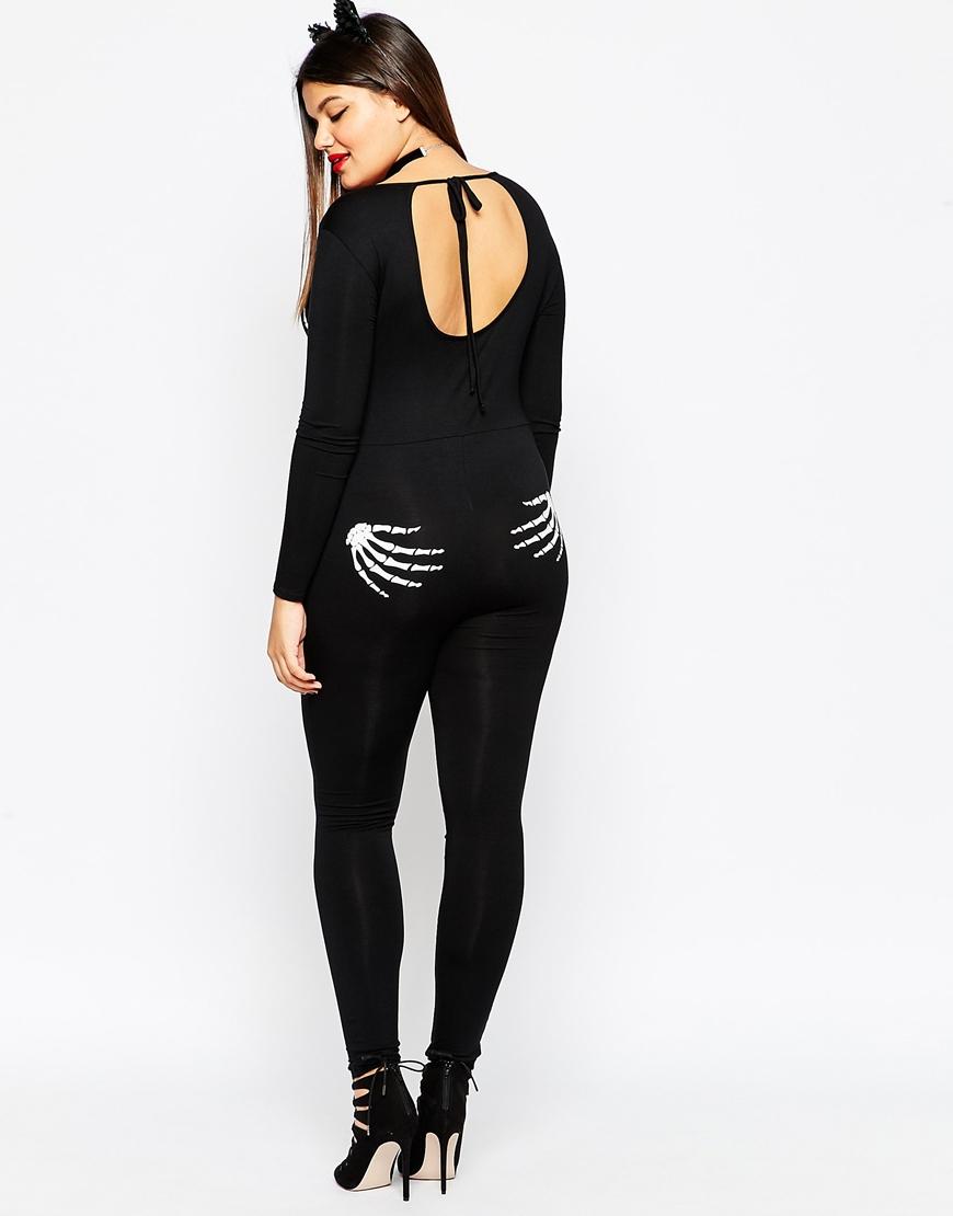 b5056425204f Lyst - ASOS Halloween Bodyfit Jumpsuit With Skeleton Hands in Black