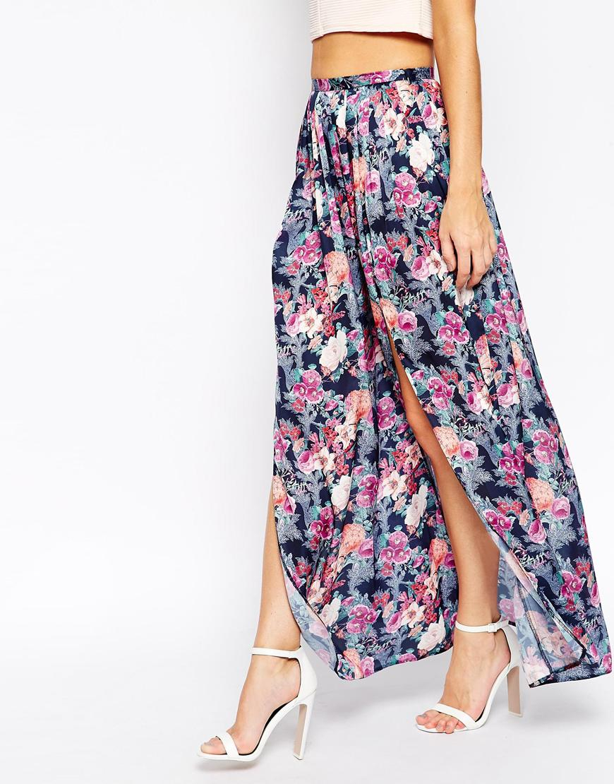 asos maxi skirt with splits in floral print in blue lyst