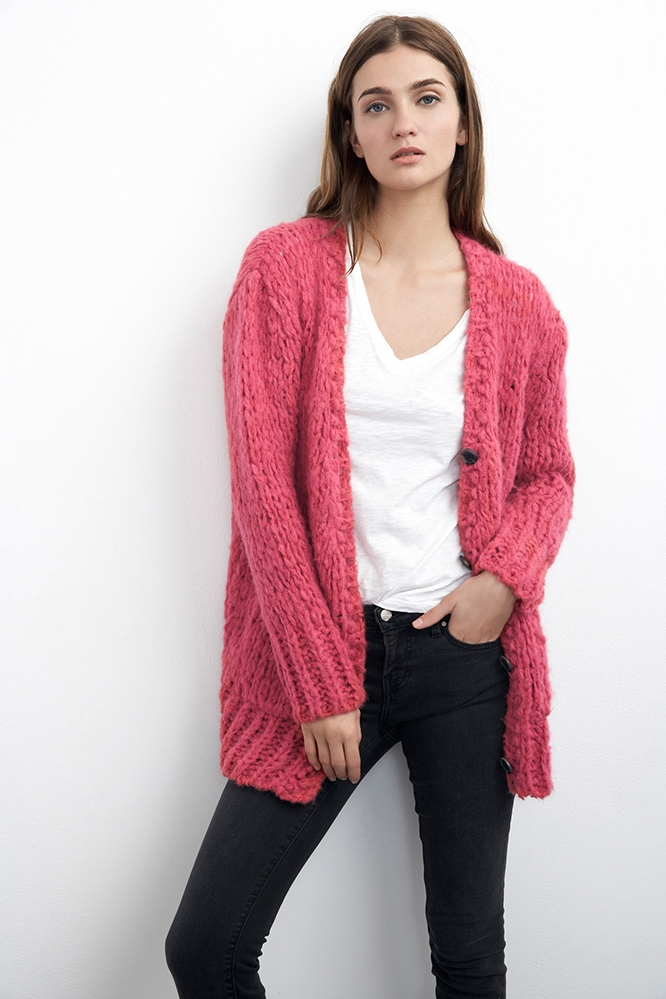 Velvet by graham & spencer Anais Boyriend Cardigan in Pink ...