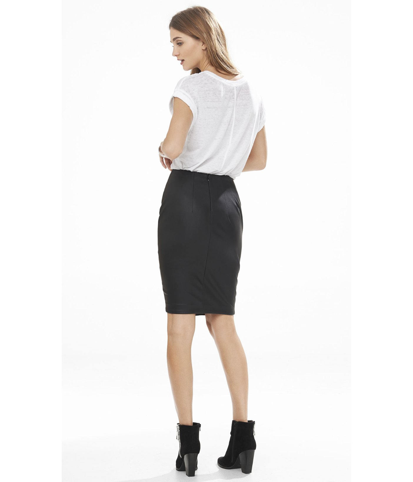 express minus the leather asymmetrical pencil skirt in