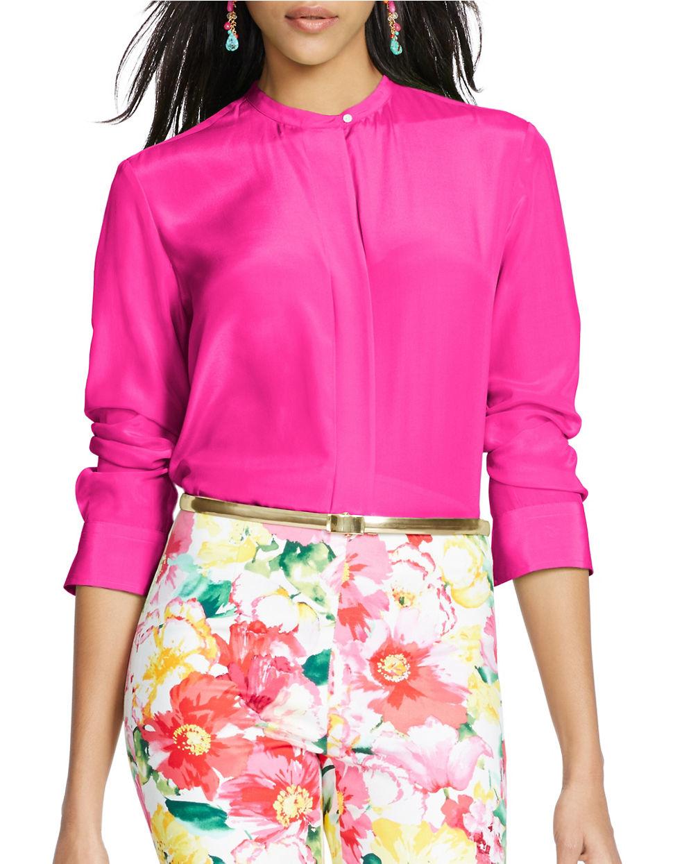 baea03df Polo Ralph Lauren Silk Long-sleeve Shirt in Pink - Lyst