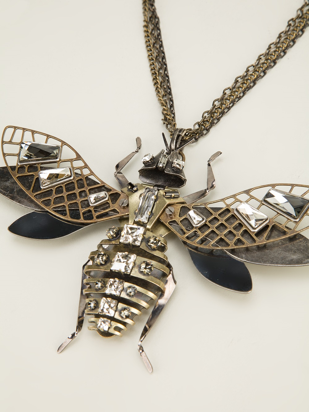 Lyst lanvin embellished insect necklace in metallic gallery aloadofball Choice Image