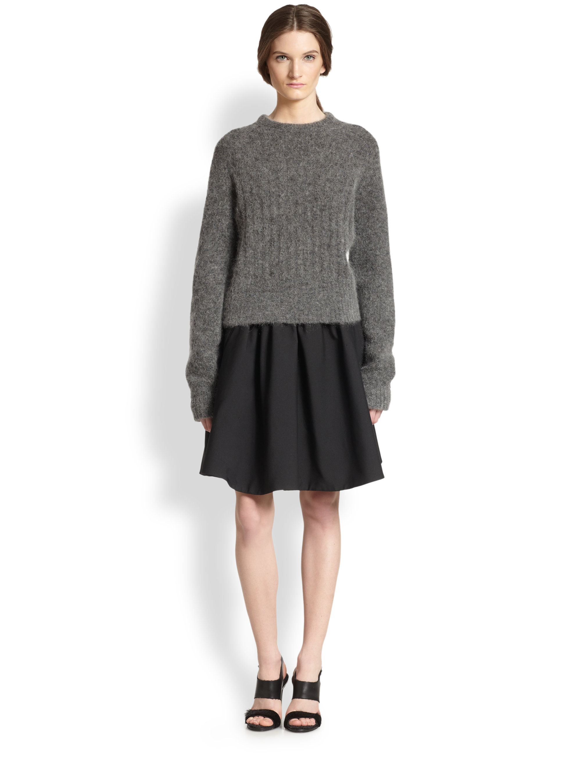 Acne studios Textured Ribbed Sweater in Gray | Lyst