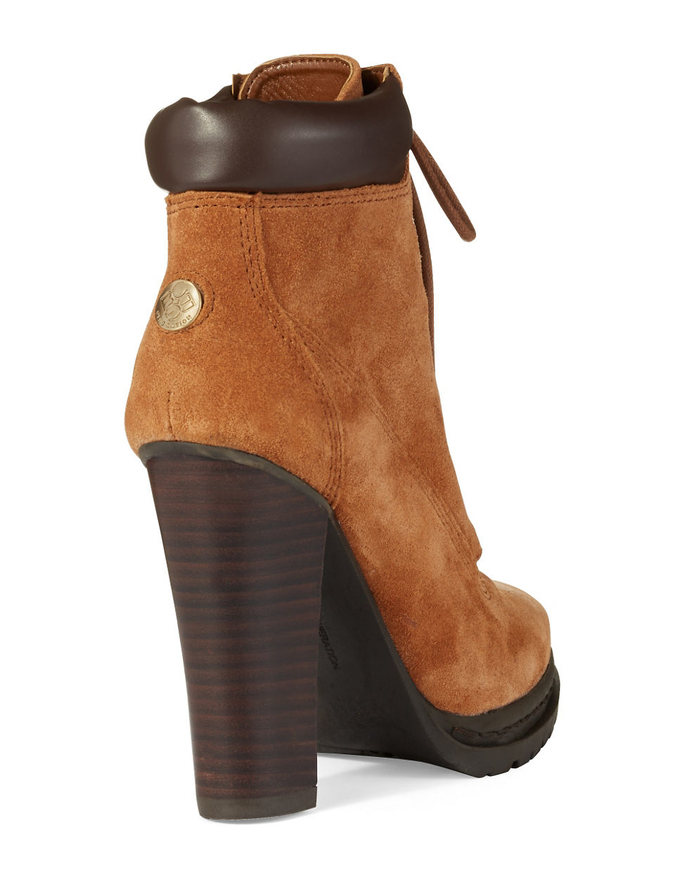 bcbgeneration maude heeled construction boots in brown lyst