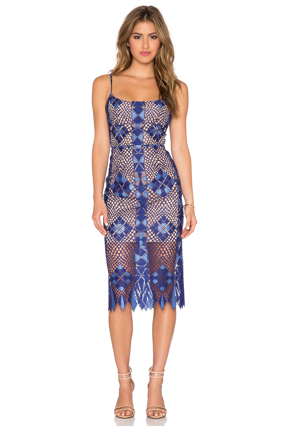 Bcbgmaxazria Sheer Lace Dress in Blue | Lyst