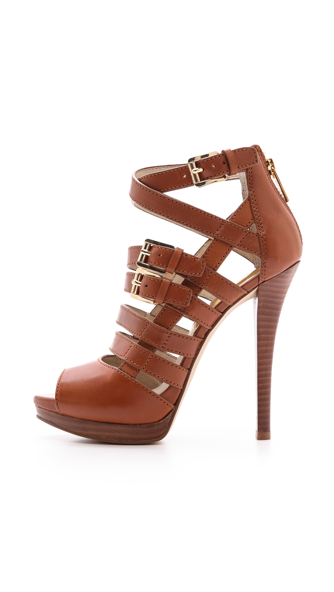 141f921c5a1 Lyst - MICHAEL Michael Kors Sandra Platform Sandals Luggage in Brown