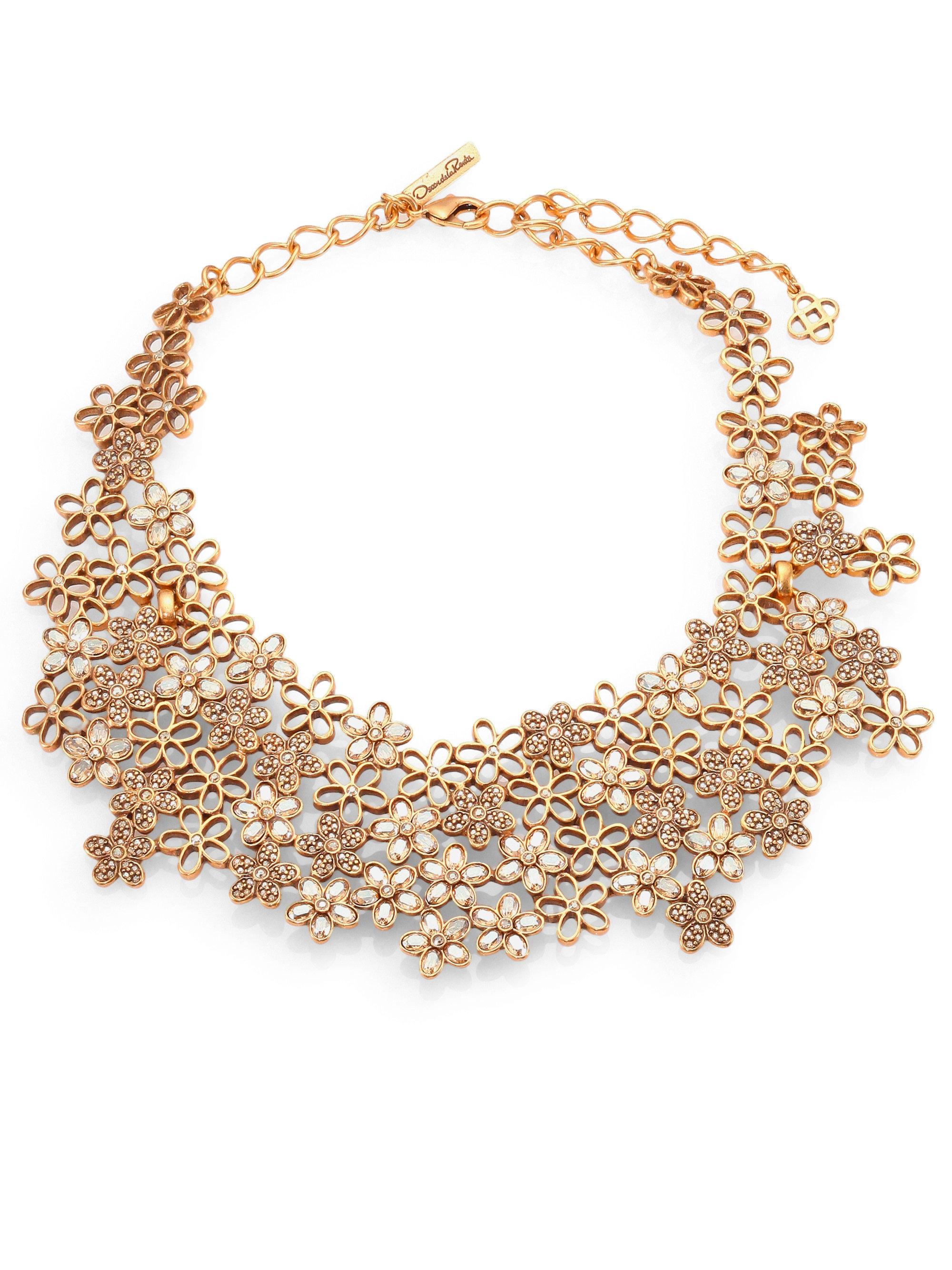 Oscar de la renta Swarovski Crystal Flower Necklace in ...