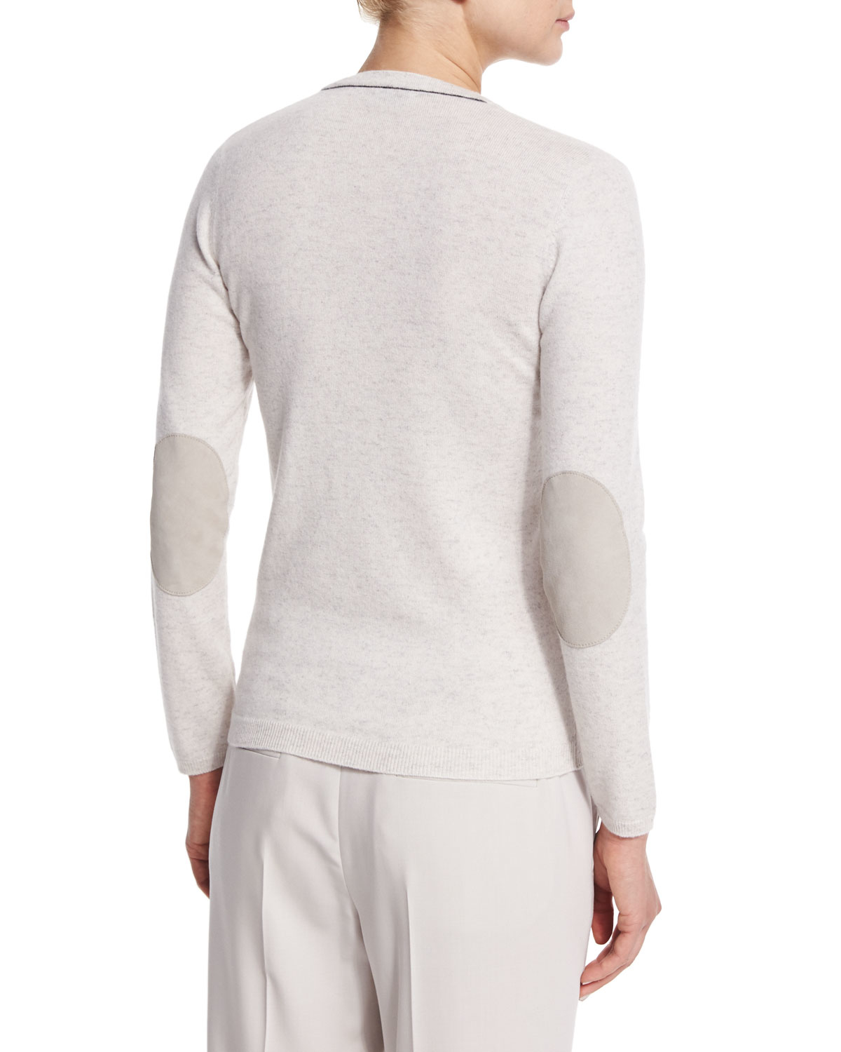 d496ccea49 Lyst - Brunello Cucinelli Suede Elbow-patch Cashmere Sweater in White