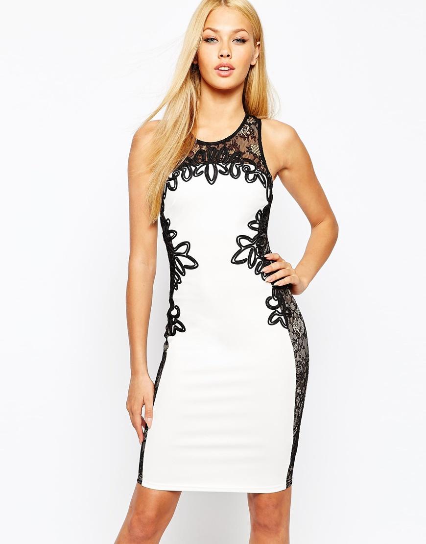 bb7e25fbc29f Lyst - Lipsy Contrast Bodycon Dress With Cornelli Trim in Black