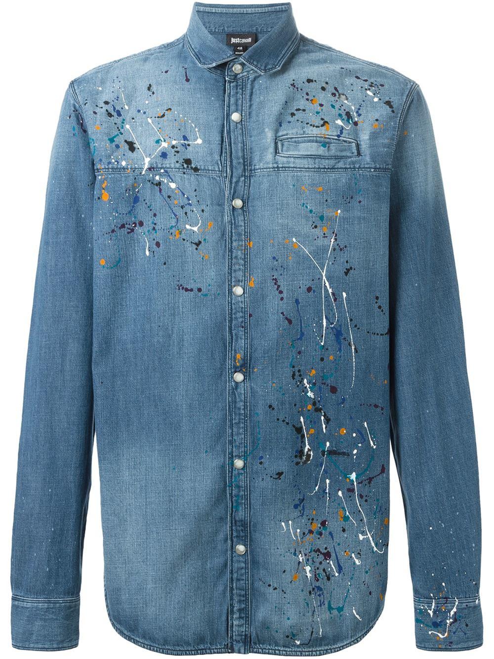 Lyst Just Cavalli Paint Splatter Print Shirt In Blue For Men