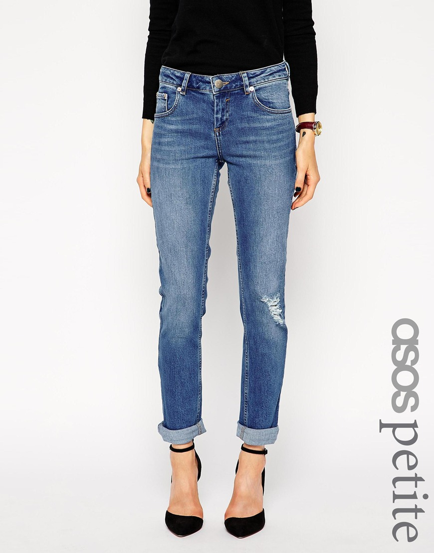 Asos Kimmi Supersoft Stretch Shrunken Boyfriend Jeans In Mid Wash ...