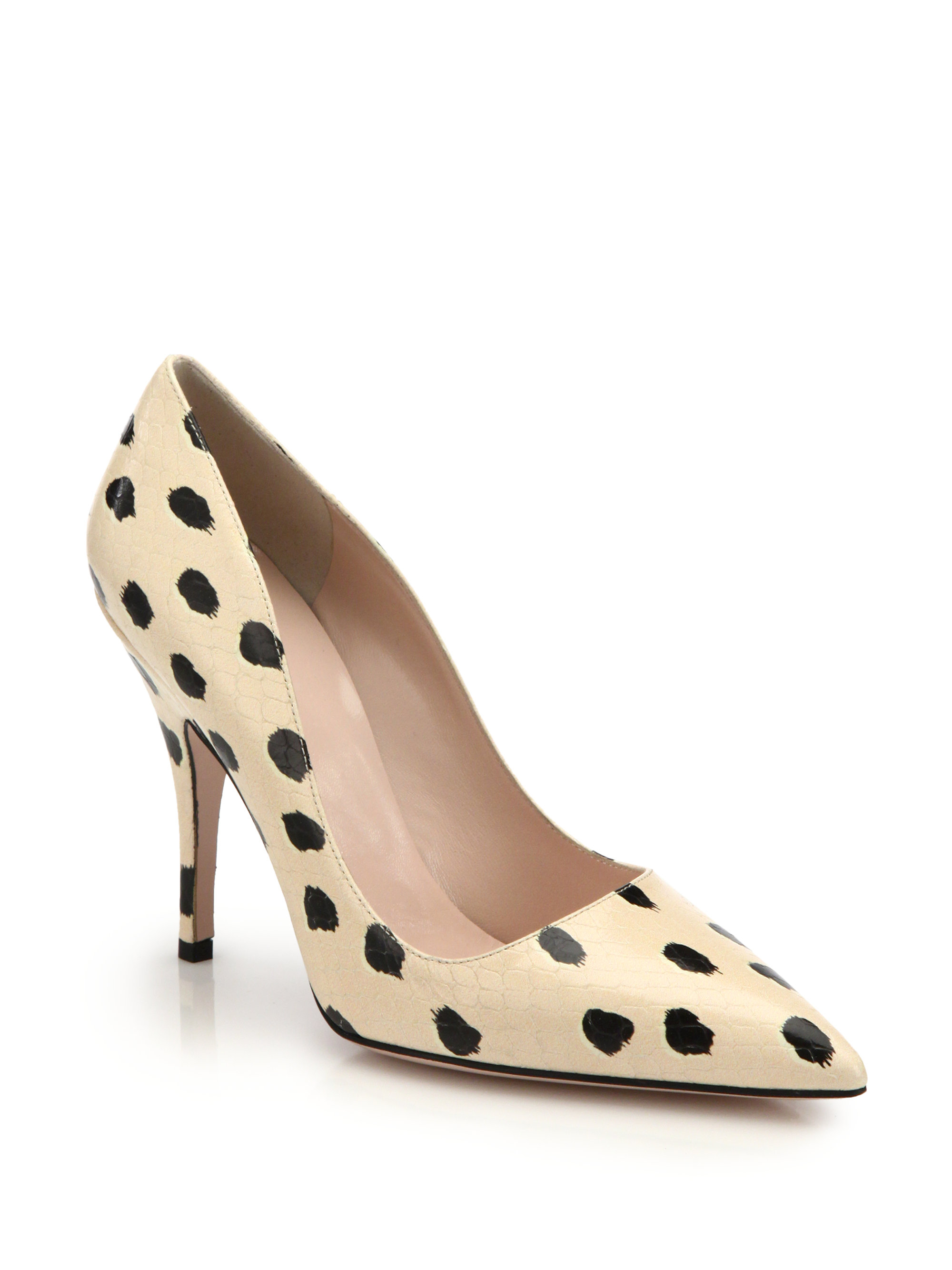 e6d210966b42 Lyst - Kate Spade Licorice Spotted Snake-embossed Leather Pumps in Black