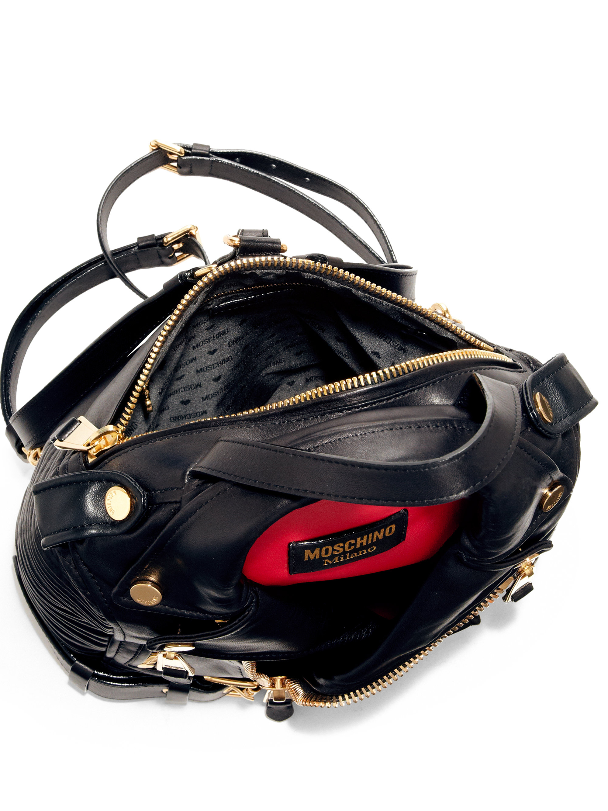 79d3aa0c5d03 Moschino Leather Jacket Backpack in Black - Lyst