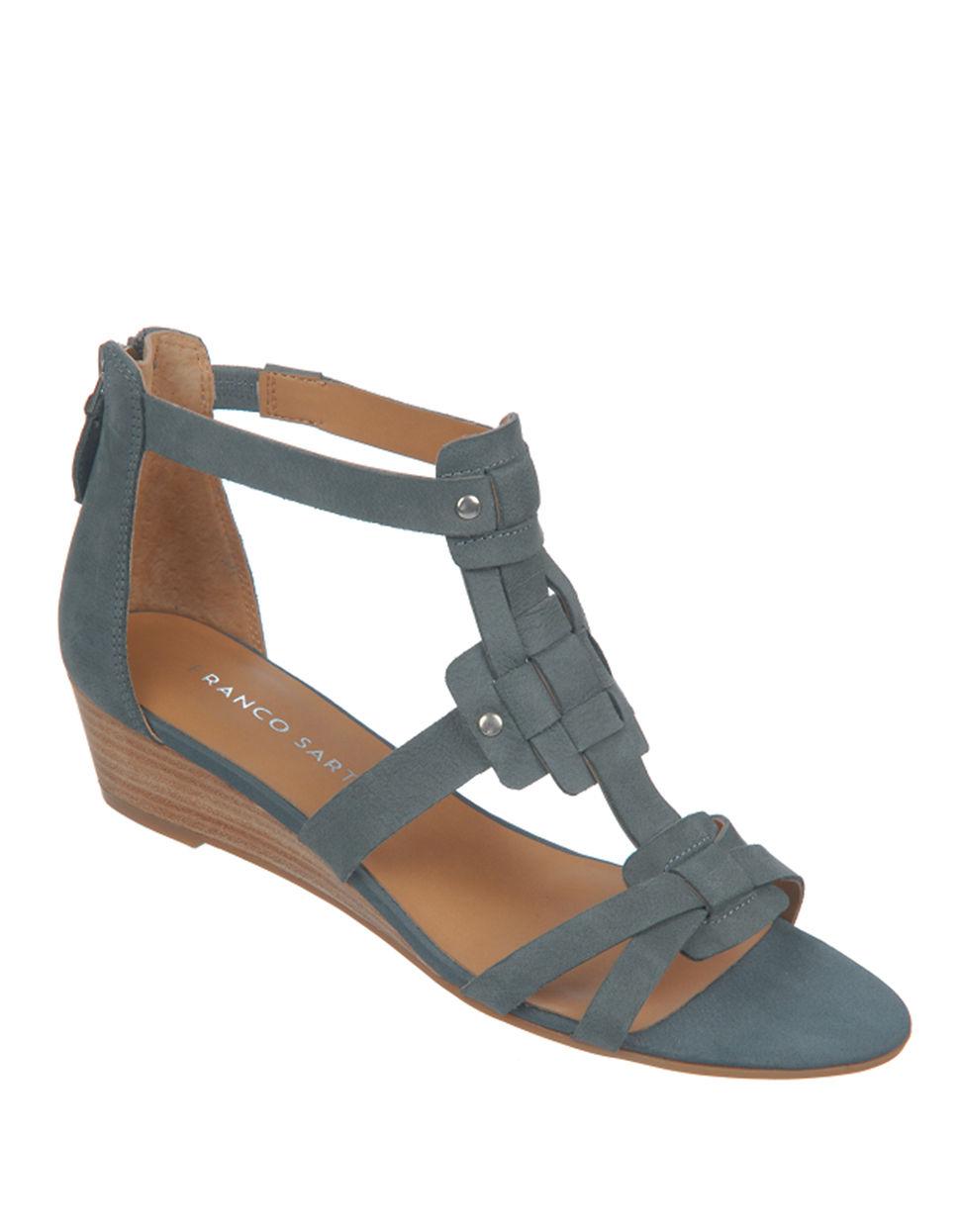 franco sarto ulysses nubuck leather wedge sandals in blue