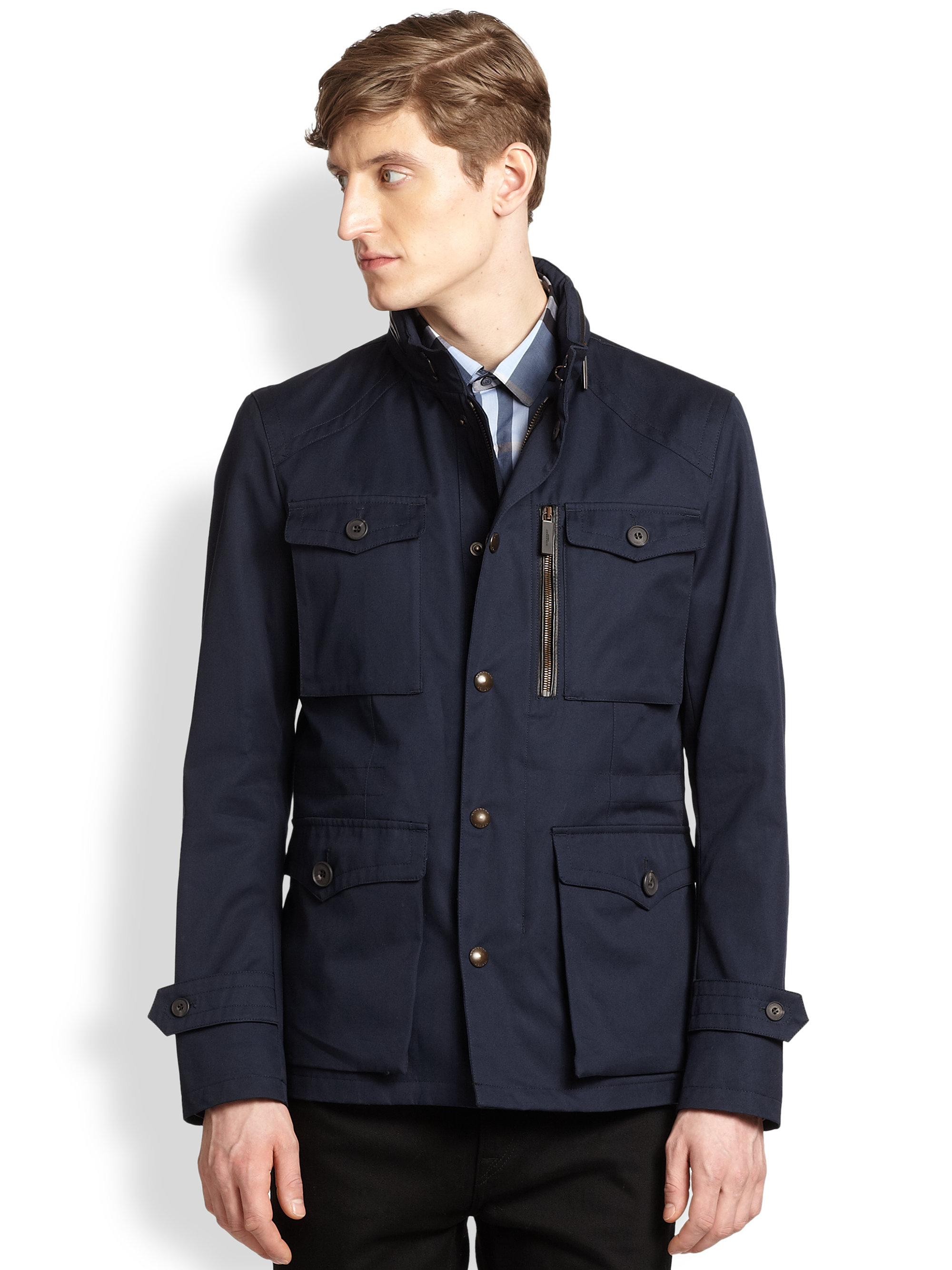 Lyst Burberry Eltham Cotton Jacket In Blue For Men