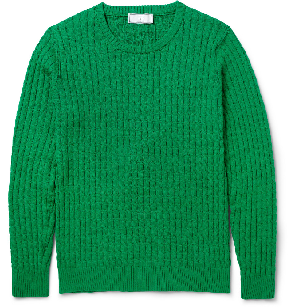 Ami Cable Knit Cotton Sweater in Green for Men | Lyst