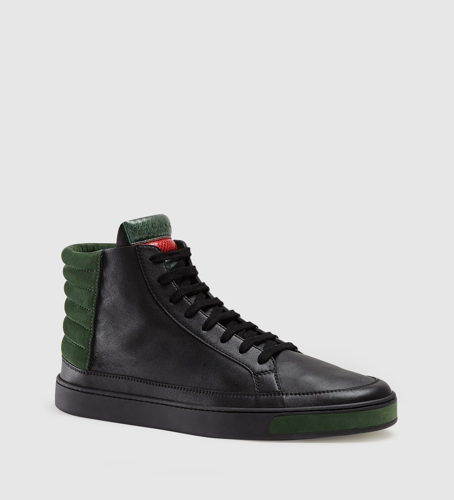 lyst gucci leather suede and ayers snake high top. Black Bedroom Furniture Sets. Home Design Ideas