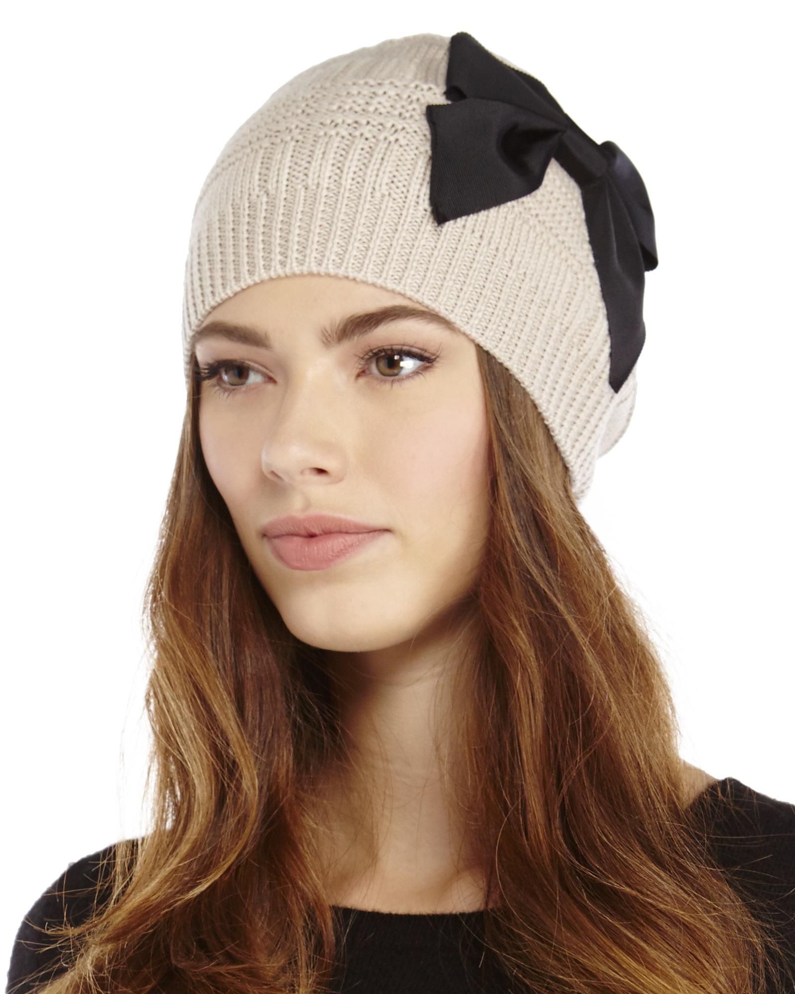 Lyst - Kate Spade Plaid Stitch Bow Beanie in Black 7ccfb8241c9