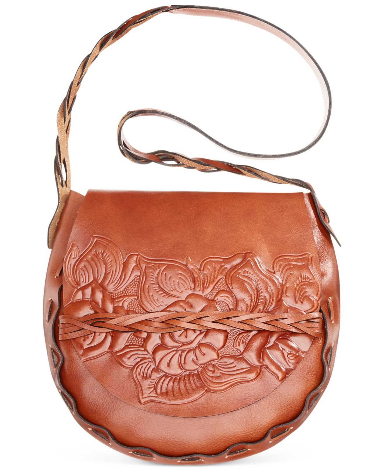 Lyst Patricia Nash Firenze Tooled Rose Flap Large Saddle Bag In Brown