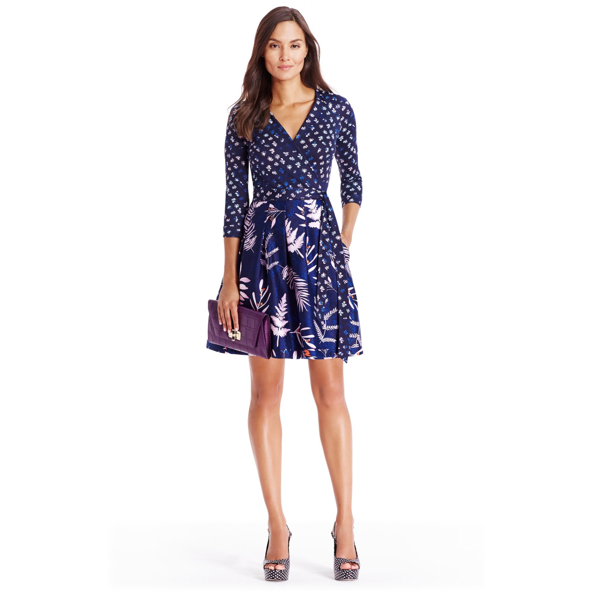 Diane von furstenberg jewel silk jersey wrap dress in blue for Diane von furstenberg clothes