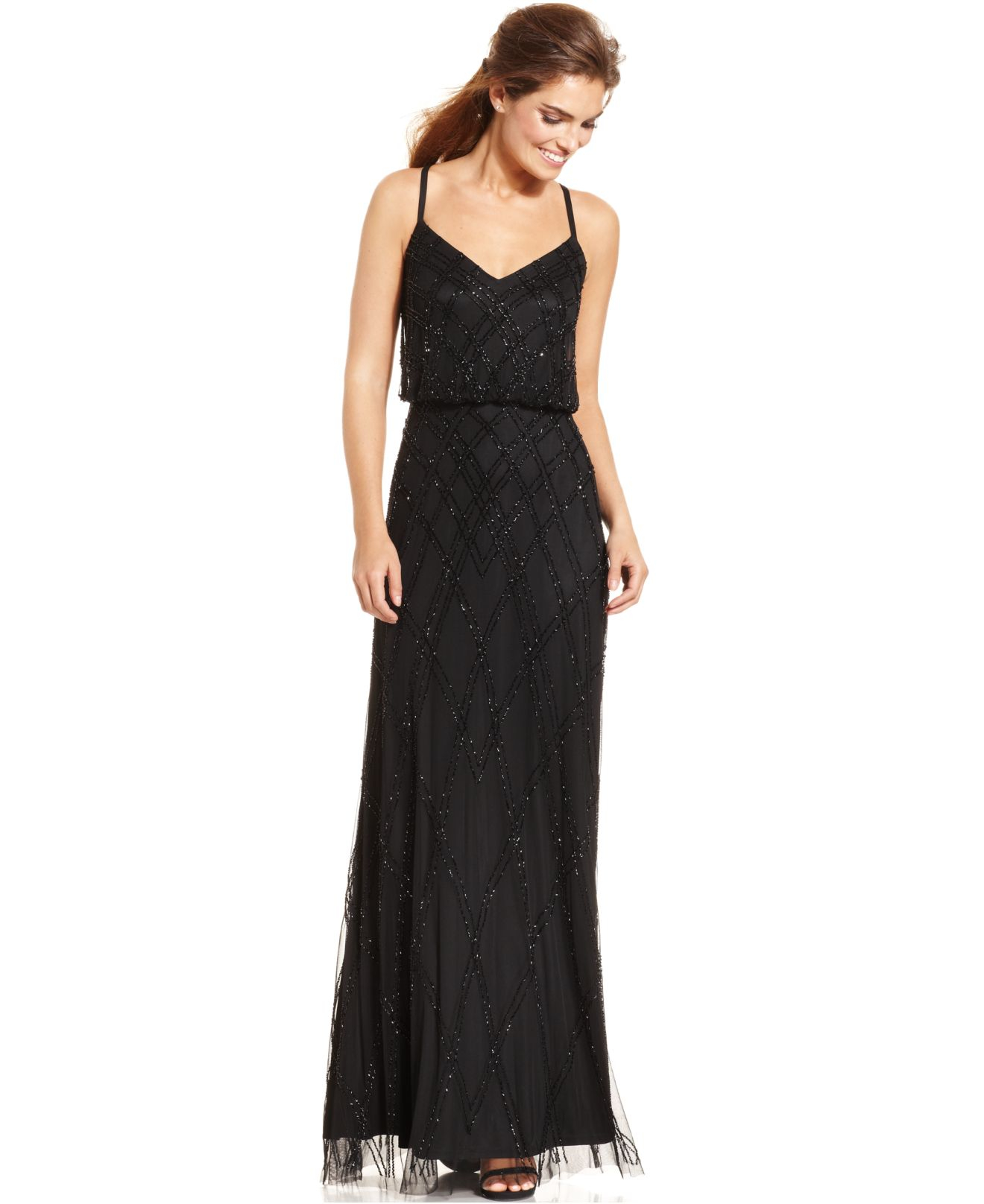 Lyst - Adrianna Papell Sleeveless Beaded Blouson Gown in Black