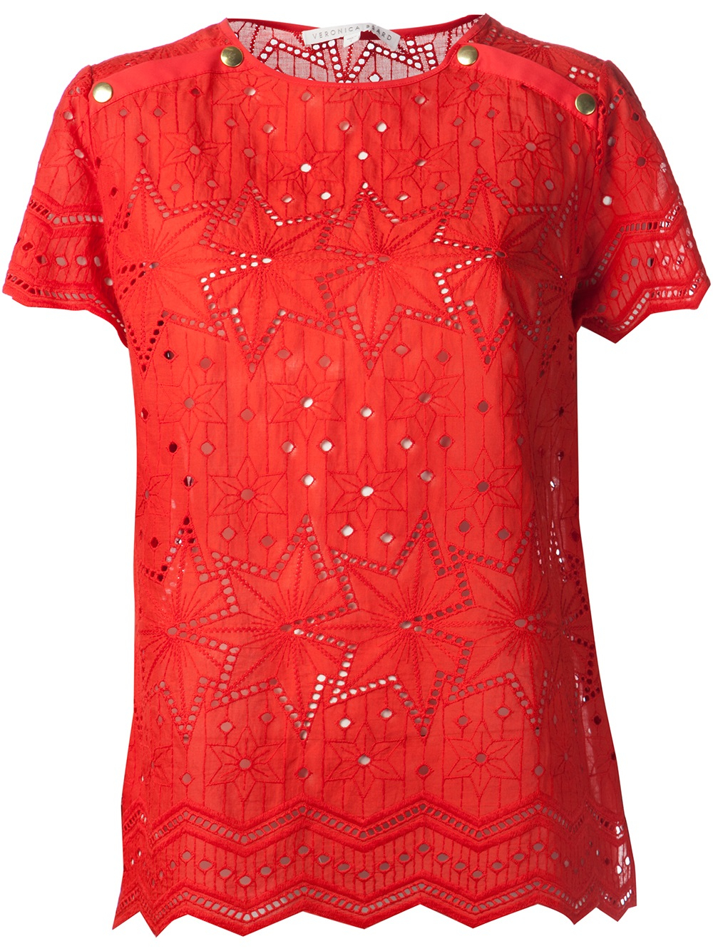 257d2651fc667e Lyst - Veronica Beard Eyelet Blouse in Red