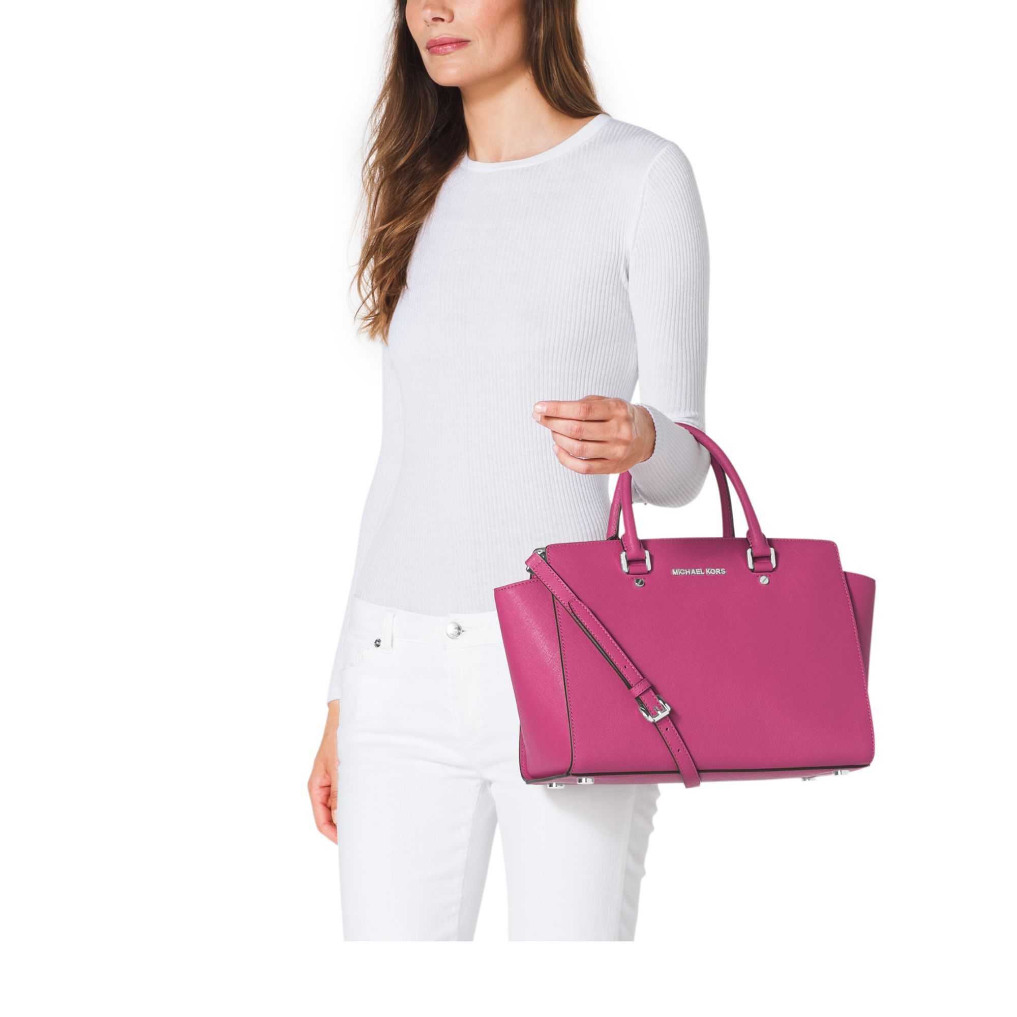 3c6dbc98d Michael Kors Selma Large Saffiano Leather Satchel in Pink - Lyst