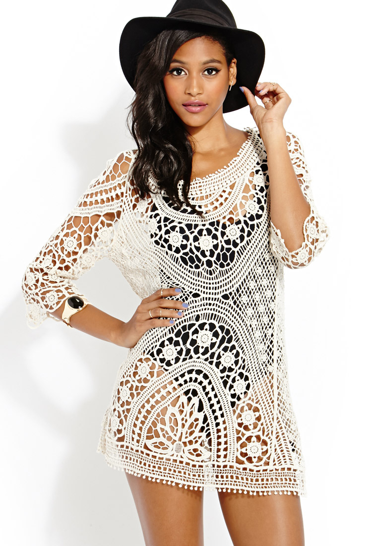 Forever 21 Femme Crochet Dress In Natural Lyst