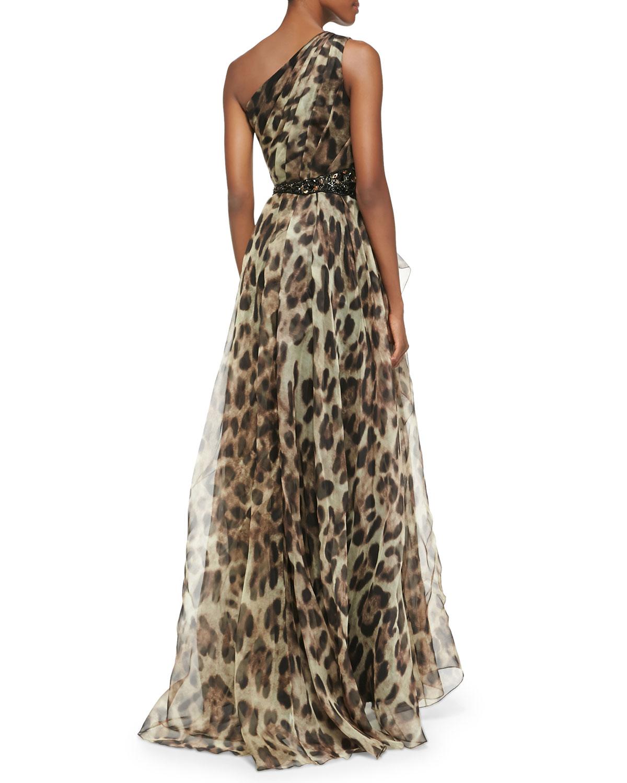 Lyst - Badgley Mischka One-shoulder Leopard-print Gown