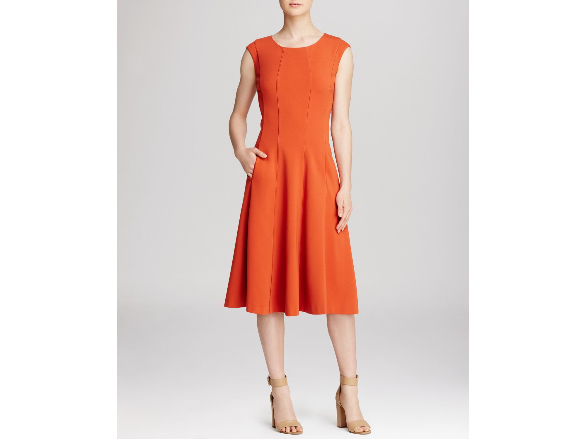 Lafayette 148 new york bev dress in orange flare lyst for New york and company dress shirts