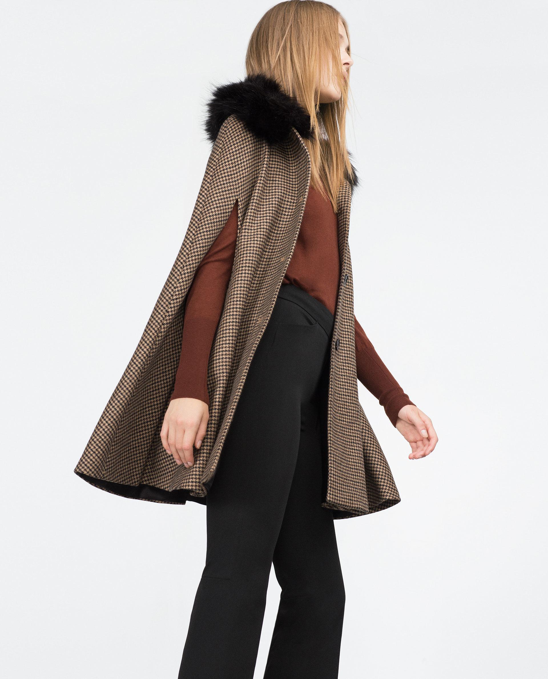 zara houndstooth cape in brown lyst. Black Bedroom Furniture Sets. Home Design Ideas