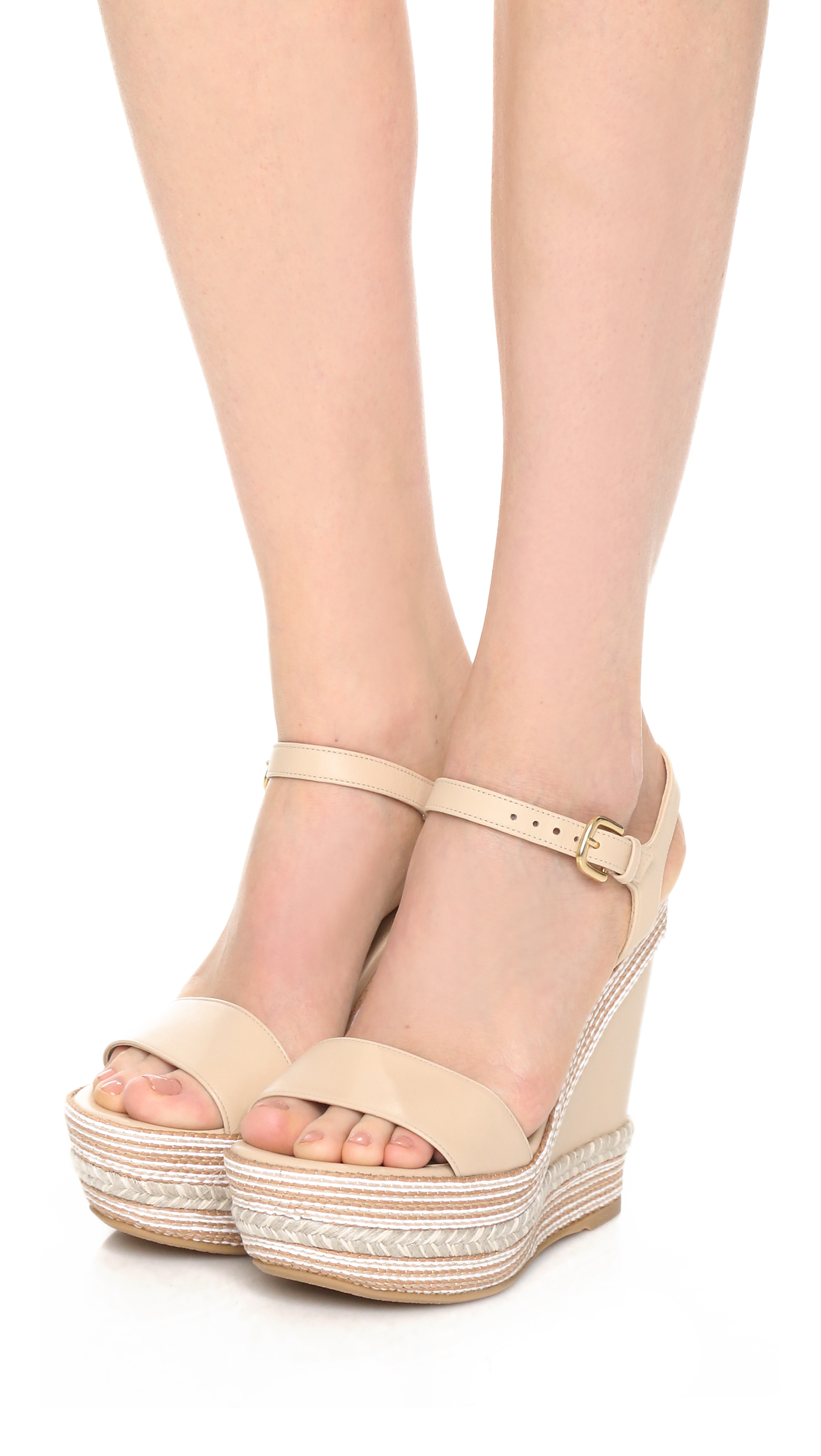 stuart weitzman single wedge sandals in lyst