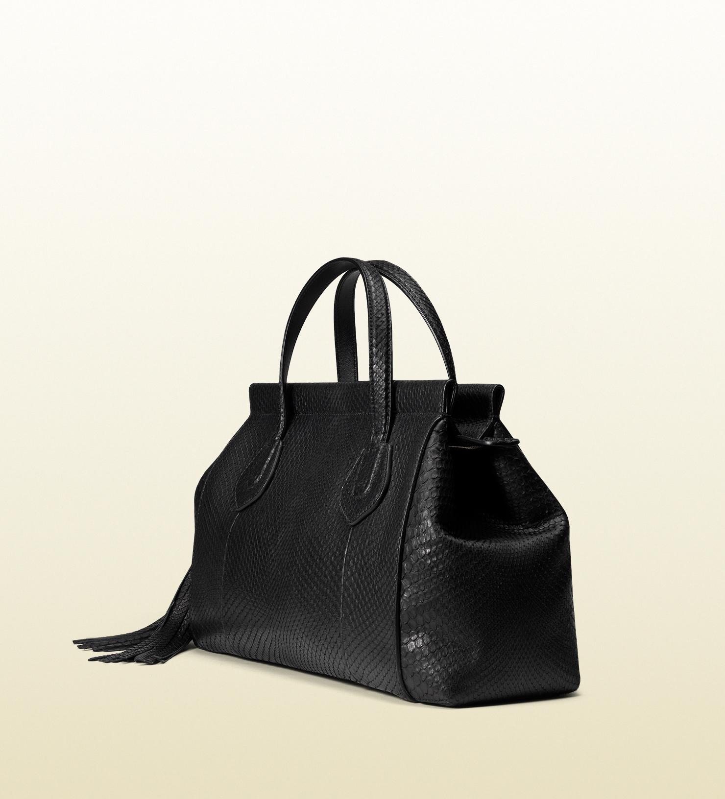 bf9c3f0feeea2 Gucci Black Python Leather Stirrup Top Handle Hobo Bag. Gucci Python Small  Soho Chain Shoulder ...