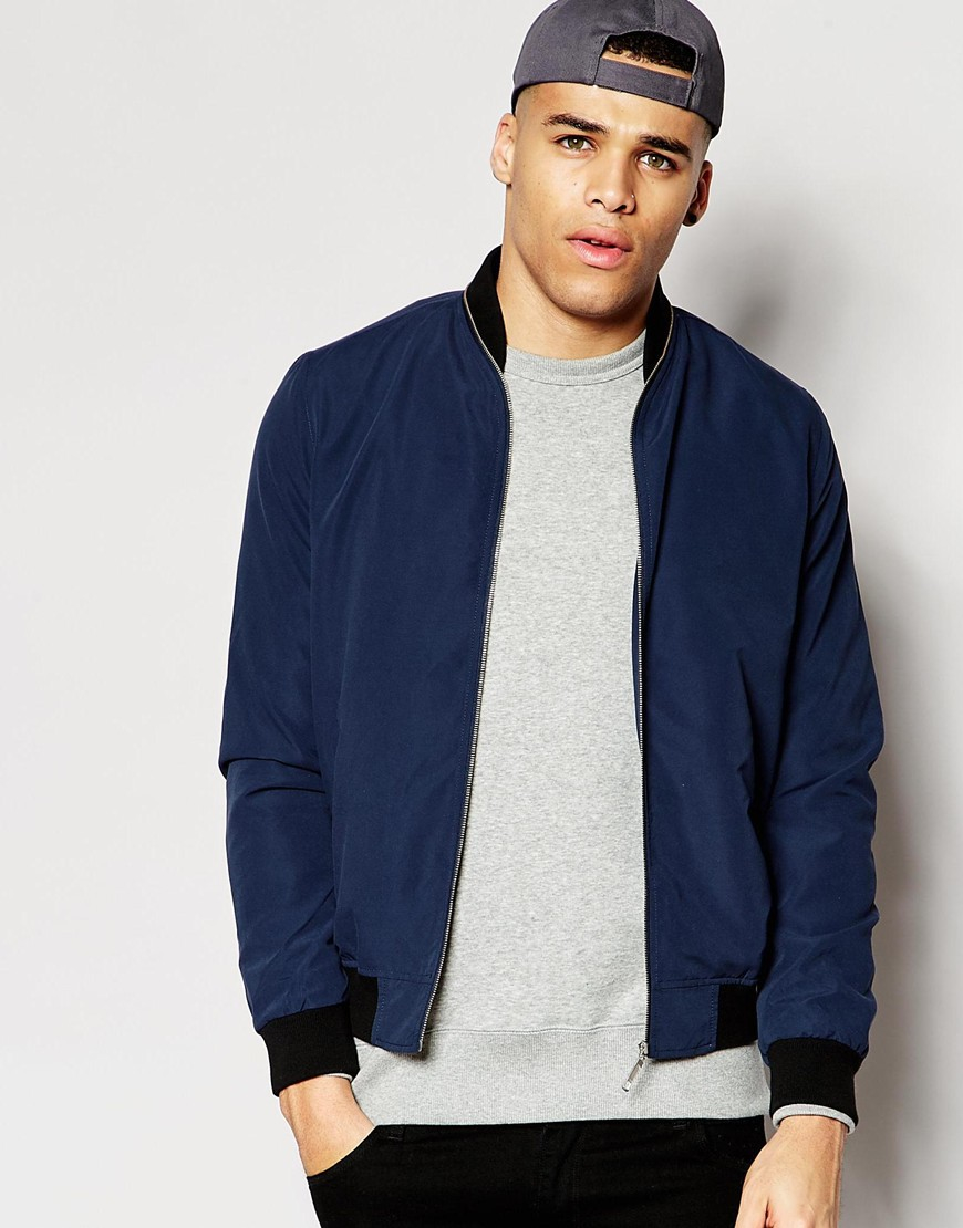 870efcb16176d Lyst - ASOS Bomber Jacket With Zip Collar Detailing In Navy in Blue ...
