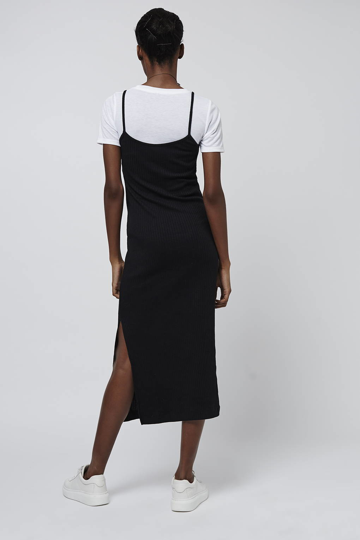 Topshop t shirt midi dress in black white lyst for Midi shirt dress black