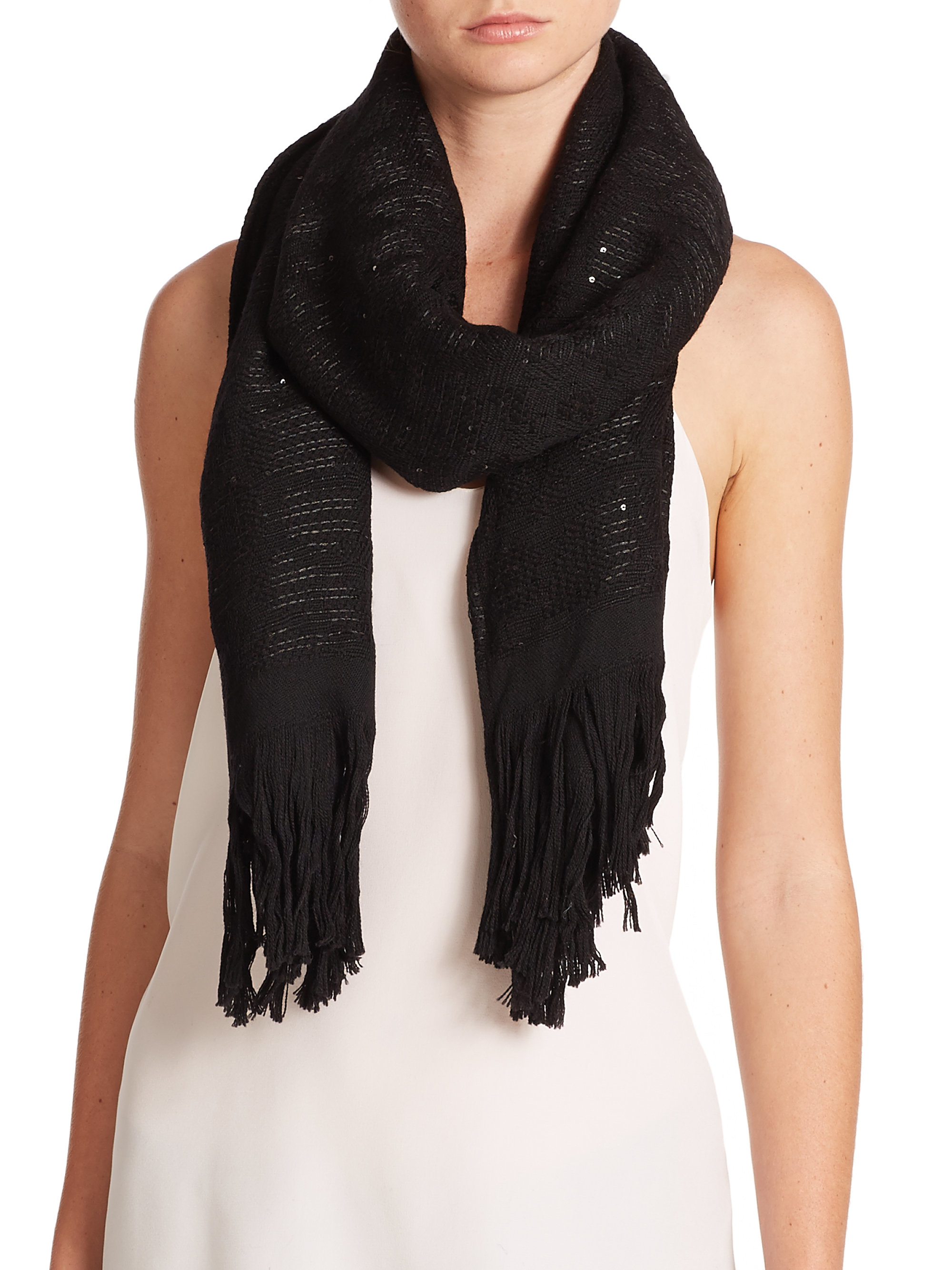 armani sequined wool blend scarf in black lyst