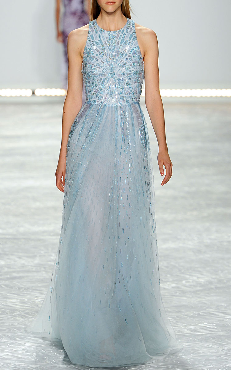 Lyst - Monique Lhuillier Iridescent Blue Embroidered Tulle Gown in Blue