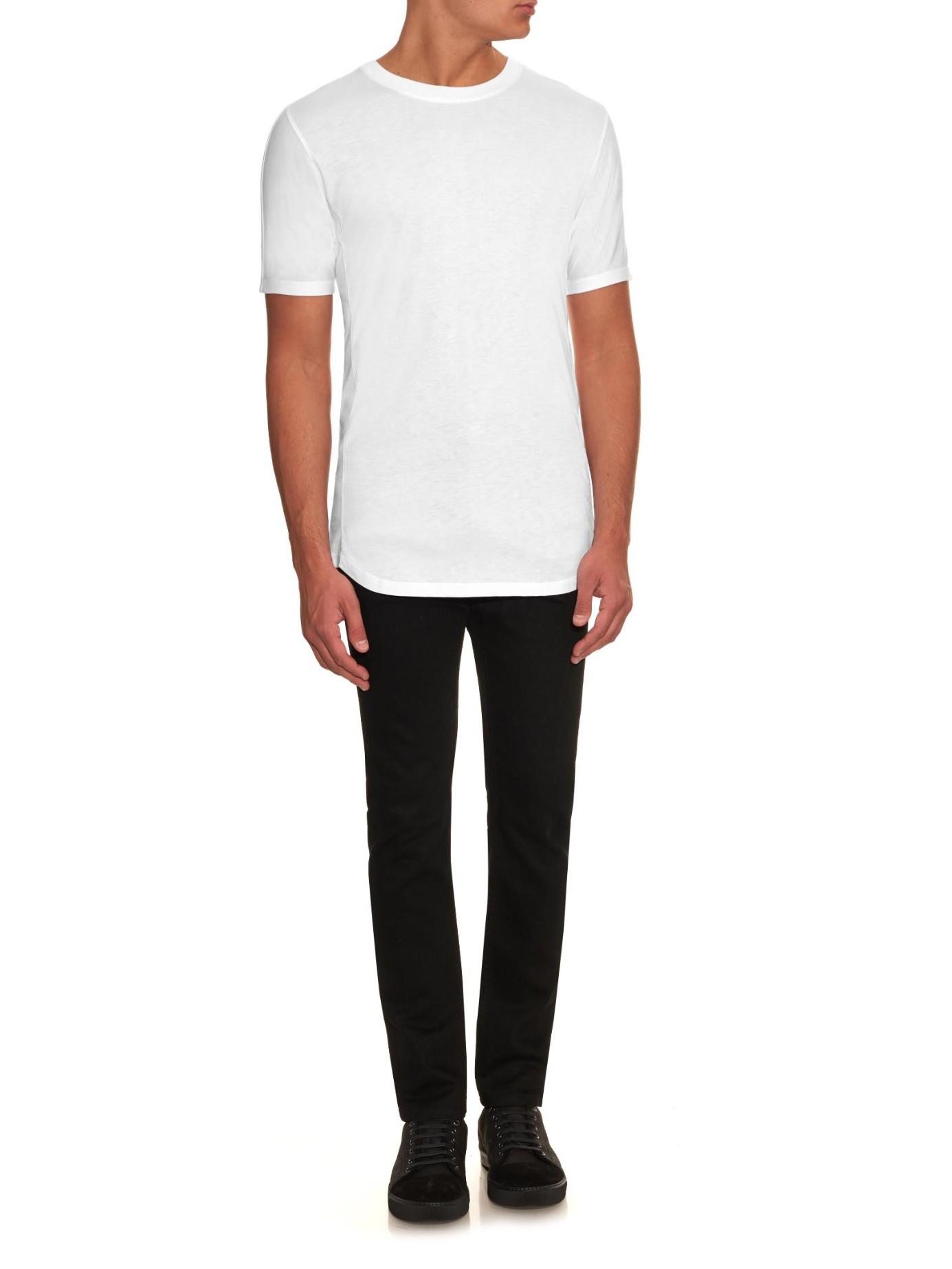 helmut lang crew neck jersey t shirt in white for men lyst. Black Bedroom Furniture Sets. Home Design Ideas