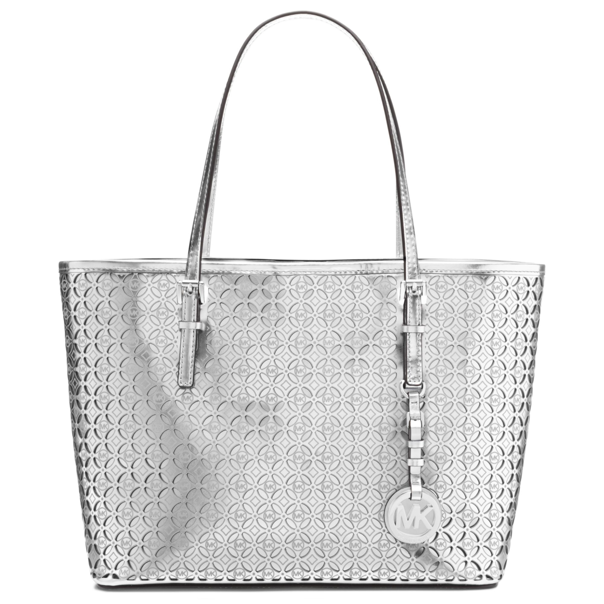 a78ae61bb0ce usa michael michael kors jet set signature monogram tote a80f1 a9807; cheap lyst  michael kors michael mk flower perforated small travel tote a6d81 3aa97