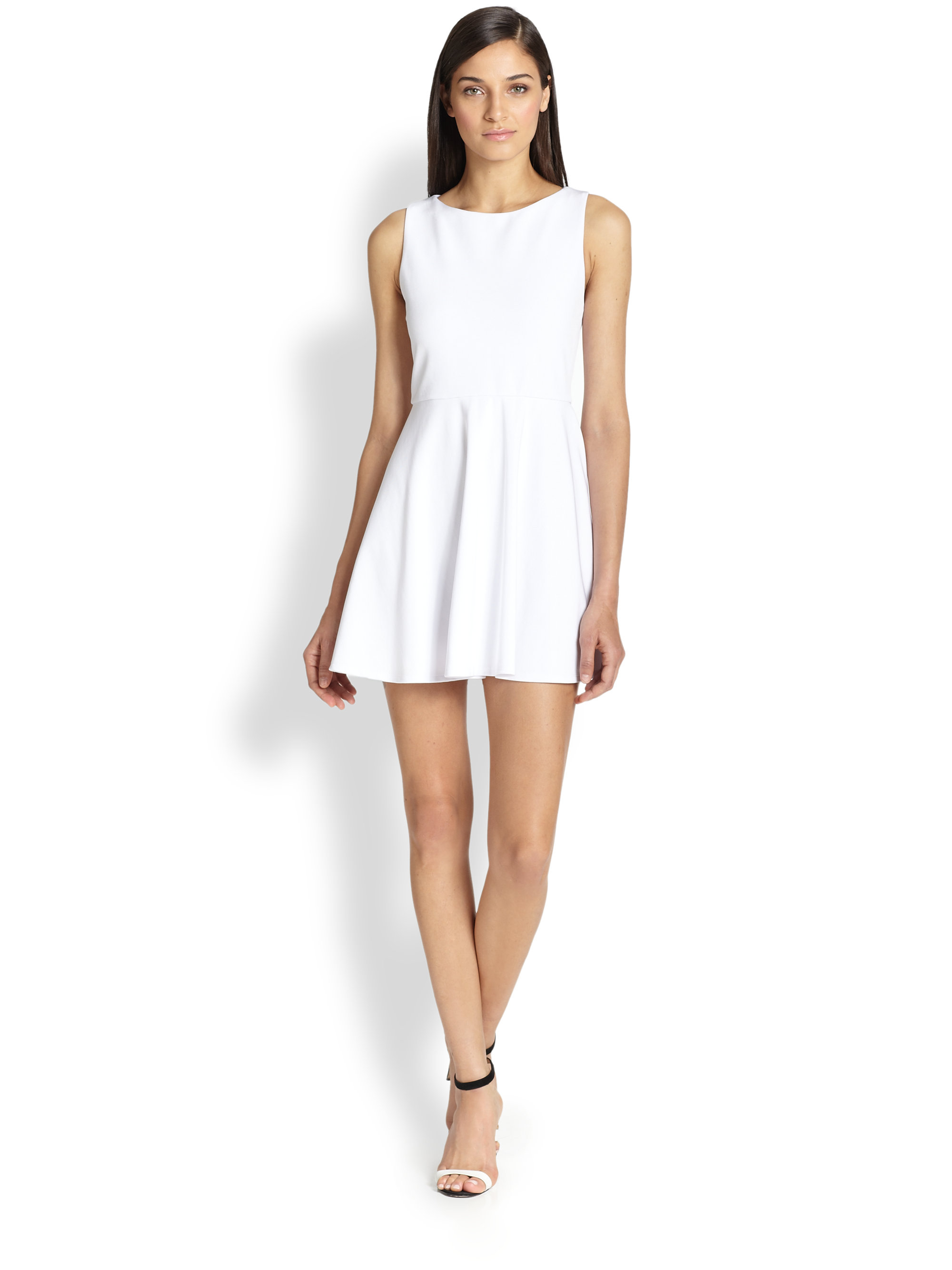Alice   olivia Monah Fit-&-Flare Dress in White | Lyst