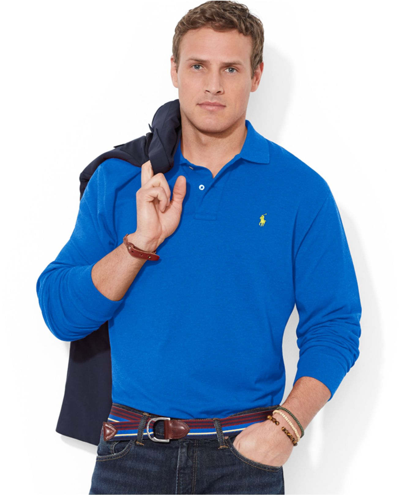 Polo ralph lauren big and tall long sleeved mesh polo for Big and tall men s long sleeve polo shirts